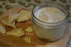 """great guideline for making homemade cream. i use mine as """"belly butter"""". what makes this post stand out is that she says don't heat the butters first ( like most recipes tell you to), it kills their healing properties. an excellent point."""