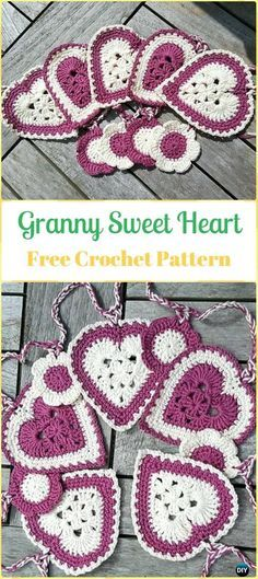 CrochetGranny Sweet Heart FreePattern-Crochet Heart Applique Free Patterns