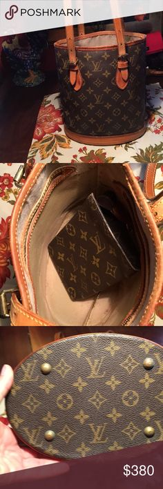 Refurbished Louis Vuitton Petite Bucket Bag I'm offering an authentic, refurbished Louis Vuitton monogram Petite Bucket Bag.  The lining around the top was removed so there's no stickiness.  Included is the wallet with no stickiness whatsoever.  It does have typical vintage issues:  a small water stain on the bottom but does not impede the look of the bag, a few cracks on the leather but my husband sealed it with clear adhesive.  No odors, ready to be loved by someone! Louis Vuitton Bags…