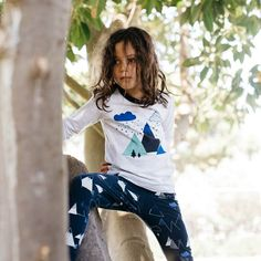 Milky Mountain pyjamas, grey marle top with mountain print on the front and navy on the edges. Matched back with navy pants with mountain pattern on the legs. Kids Pajamas, Pyjamas, Pjs, Navy Pants, Mountain, French, Collection, Women, Fashion