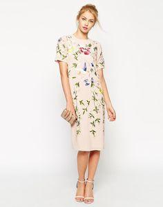 ASOS | ASOS Bird and Floral Embroidered Shift Dress at ASOS