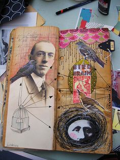 Bird Man pages. by Anahata Katkin / PAPAYA Inc., via pet girl boy Kunstjournal Inspiration, Sketchbook Inspiration, Artist Journal, Art Journal Pages, Art Journaling, Illustrations, Illustration Art, Arte Sketchbook, Sketchbook Layout