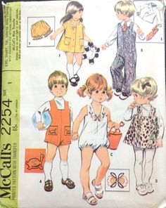 McCalls 2254 1960s Toddlers Jumpsuit Jumper Shirt Tie Rompers Dress and Panties boys girls vintage sewing pattern by mbchills