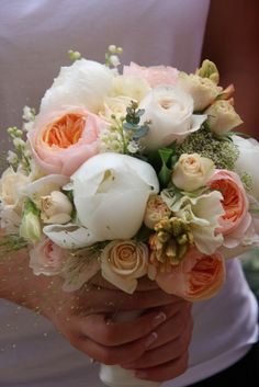 glorious English Garden Roses; Juliet & Keira from the nurseries of David Austin, apricot Hyacinths, White Peonies, fragrant Lily of the Valley, Cream Sweet Peas, Champagne Grass, Eucalyptus & Dill