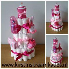 Luiertaart 3-laags roze