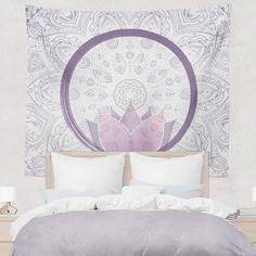 Purple Lotus Mandala Tapestry Wall Hanging Meditation Yoga Grunge Hippie