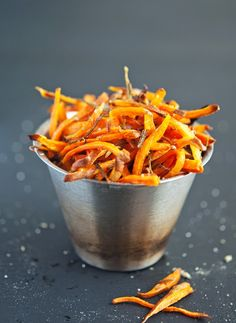 (Hand Cut) Crispy Baked Sweet Potato Shoestring Fries (Broil on Low for 5 minutes) To replicate for red skin potatoes: Bake at 400 for 8 minutes, stir, 8 minutes Broil on low for 12 minutes checking frequently Paleo Sweet Potato Fries, Grilled Sweet Potatoes, Fried Potatoes, Whole 30 Recipes, Side Dish Recipes, Side Dishes, Main Dishes, Paleo Recipes, Cooking Recipes