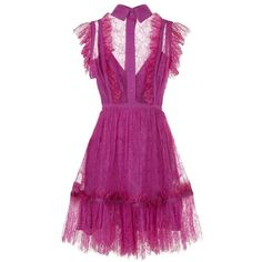 Elie Saab Sleeveless Lace Collar Dress (108,110 MXN) ❤ liked on Polyvore featuring dresses, ruffle cocktail dress, purple cocktail dresses, purple lace dress, ruffle hem dress and ruffle dress