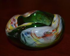Vintage Art Glass Pinched Rose Bowl, Green Glass, Murano Style, Ashtray EX!