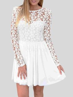 White Low Back Embroidered Homecoming Dress - Milanoo.com