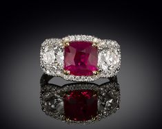 Stunning 4.08 carats! The very rare pigeon-blood color distinguishes this Natural Burma ruby. ~ M.S. Rau Antiques