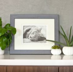 From photo to fine art pet etchings, cat art using ashes framed and shown in home decor