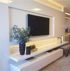 Home theater sala Living Room Wall Units, Living Room Tv Unit Designs, Home Living Room, Interior Design Living Room, Living Room Decor, Tv Wall Units, Tv Wall Design, House Design, Home Decor
