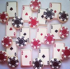Playing cards & poker chip cookie idea