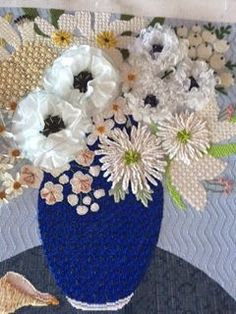 needlepoint vase with flowers, possibly Melissa Sirley