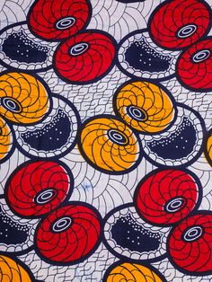 African Textiles For Sale Real Wax Blue Red Yellow Circle Design For Dress Making rw601308