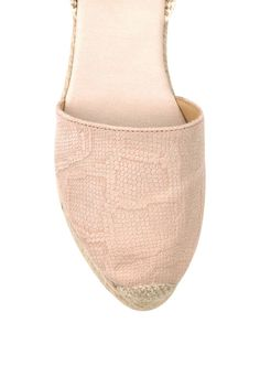 Pink snake print leather wedge espadrilles with ankle laces and jute rope platform base and rubber outsole. Leather Espadrilles, Leather Wedges, Pink Snake, Snake Print, Jute, Slippers, Platform, Ankle