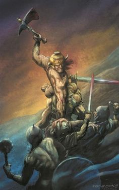 Cover for Conan the Cimmerian series) [Cary Nord cover] Ode to Frazetta. Fantasy Warrior, Sci Fi Fantasy, Dark Fantasy, Red Sonja, Ghost Rider, Paladin, Comic Books Art, Comic Art, Wolverine