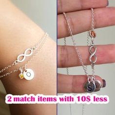 infinity personalized bracelet - infinity personalized necklace - infinity combination of necklace and bracelet - discount for 2 match items