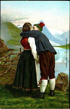 Par i Hardangerbunad tidlig Utg Ant J. Norse Pagan, Bergen, Ant, Scandinavian, Poster, Romance, Culture, Painting, Postcards