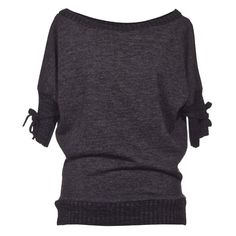"""Souffle Short Sleeve Sweater With Bow Details – Dark Grey - """"Masnis... ❤ liked on Polyvore"""