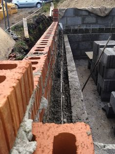 Retaining wall full of concrete Railroad Tracks, Centre, Concrete, Cleaning, Wall, Walls, Train Tracks