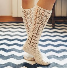 Crochet PATTERN for socks (pdf file) - Ladies Lace Socks Crochet Shoes, Crochet Ruffle, Crochet Saco, Crochet Slippers, Crochet Clothes, Yarn Crafts, Crochet Crafts, Crochet Projects, Lace Socks