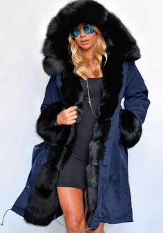 7b3f4b0effae Blue Patchwork Pockets Fur Hooded Long Sleeve Parka Fashion Coat