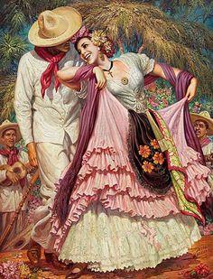 Mexican town fair day dancers