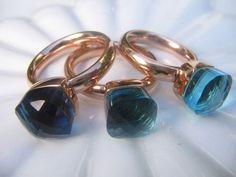 qudo Ring FIRENZE * echt vergoldet Roségold * Blau Aqua Türkis Blautöne * DER TREND!