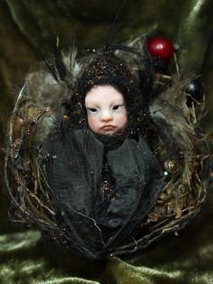 Fairy Baby on Nest Hand-sculpted OOAK Art Doll.