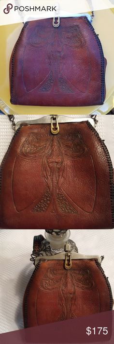 JUST IN🔶️Vintage Hand Tooled Art Deco Handbag 1920's hand tooled leather purse from Reedcraft. Green suede interior.  Has turnlock closure.  Has original strap.  In great condition considering age.    Awesome piece for a lover of vintage. 😊 Vintage Bags