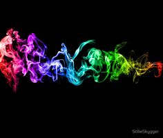 'Colorful Abstract Smoke - A Rainbow in the Dark' Poster by StilleSkygger Huf Wallpapers, Colored Smoke, Rainbow Aesthetic, Goth Art, Abstract Art, Abstract Posters, Soft Colors, The Darkest, Canvas Art