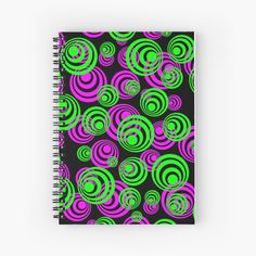 'Neon Green and Pink Circles' Spiral Notebook by podartist Neon Green, Black Neon, Spiral Notebooks, Notebook Design, Canvas Prints, Art Prints, Free Stickers, Sticker Paper, Circles
