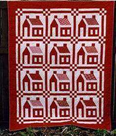 Free Schoolhouse Quilt Pattern   Little Red Schoolhouses, made and quilted by Mary Stori, 56 1/2 x 71 ...