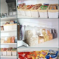 "This blogger claims they are a compulsive organizer who likes to have her pantry ""merchandised"" like a corner store.While her pantry may be a little 'too perfect,' this post is full of great ideas such as keeping snacks and grains in Costco popcorn containers."