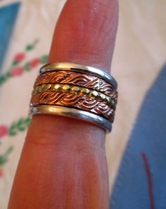 RING  - SPINNING - ORNATE - spinner  - Bumps - Swirls - Triple  - Wide - Bands - Three Tone - 925 - Sterling Silver - Size 7   spinner216 by MOONCHILD111 on Etsy