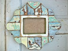 Dishfunctional Designs: Home Decor & Art Made From Old Salvaged Reclaimed Wood  Reclaimed wood mosaic picture frame by woodenaht via Etsy (above and below)