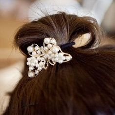 Smile accessories pearl rhinestone butterfly rubber band headbands hair rope -- Click image to review more details.