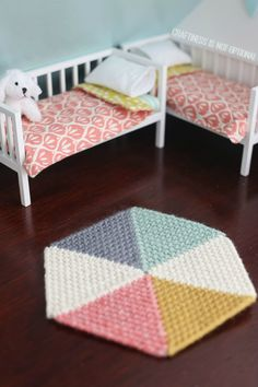 amazing DIY dollhouse by craftiness is not optional RUG FROM PLASTIC SCRIM