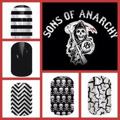 SOA Fans, this is for you! Biker Chic, Jamberry Nail Wraps, Diy Manicure, Sons Of Anarchy, Fun Nails, Nail Designs, Nfl, Fans, Nail Desings