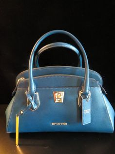 Cromia Blue Leather Italy 141492 Italian Tote Crossbody Handbag Purse Satchel Crossbodytote