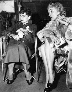 """Audrey Hepburn & Marlene Dietrich on the set of """"Sabrina"""" dir. Billy Wilder (1954)."""