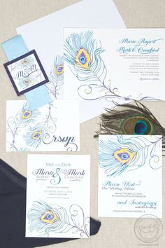 These peacock invitations are super classy! The peacock design is hand-painted original artwork and can be completely customized!
