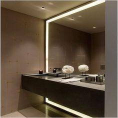 Bathroom With Large Mirror 8 Large Framed Mirrors, Large Bathroom Mirrors, Bathroom Mirror Lights, Lighted Vanity Mirror, Modern Master Bathroom, Large Bathrooms, Contemporary Bathrooms, Amazing Bathrooms, Vanity Mirrors