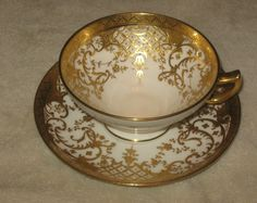 Antique/Vintage Small China Teacup & Saucer Mintons England White With Gold Trim