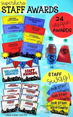 Award and thank your school staff at the end of the year with these unique end of year staff awards. Their fun superhero theme makes for a great way to acknowledge the superpowers of your entire staff! This set includes 24 awards in 6 styles each with color and blackline. Why not give then a superhero send off with an awards ceremony too? This pack also includes a celebratory banner, posters, nominations and planning pages. Perfect for staff appreciation week too!