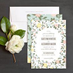 Dreamy Blooms Wedding Invitations by Sarah Brown | Elli