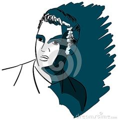 Image representing the famous american musician, singer and actor Elvis Presley. An illustration in black that can be used in all projects about music.