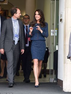 Kate looks animated as she chats to staff as she leaves the hospital after paying a visit to victims of the London Bridge terror attack. Malcolm Tunnicliff, clinical director of the emergency department, said: 'I think the Duchess was really affected by the dedication of the staff and how resilient they are. They are very proud to work for King's and the NHS'